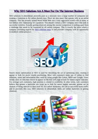 Why SEO Solutions Are A Must For On The Internet Business
