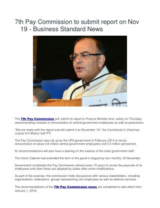 7th Pay Commission to submit report on Nov 19 - Business standard News