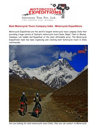 Best Motorcycle Tours India - Motorcycle Expeditions