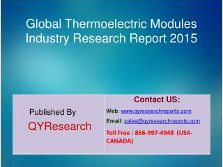 Global Thermoelectric Modules Market 2015 Industry Study, Trends, Development, Growth, Overview, Insights and Outlook