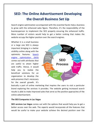 SEO: The Online Advertisement Developing the Overall Business Set Up