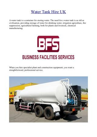 Water Tank Hire UK