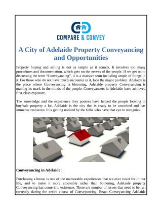 A City of Adelaide Property Conveyancing and Opportunities