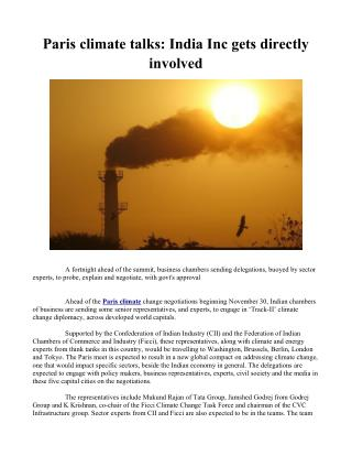 Paris climate talks: India Inc gets directly involved