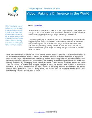 Vidyo: Making a Difference in the World