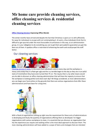 Mr Homecare cleaning services, office cleaning service in mumbai