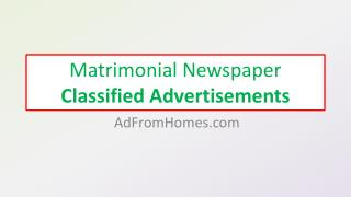Matrimonial Newspaper Classified Advertisements