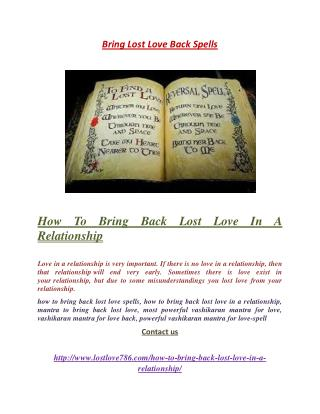 How To Bring Back Lost Love In A Relationship
