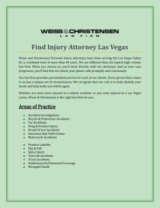 Find Injury Attorney Las Vegas