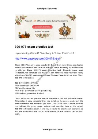 Cisco 300-075 exam practice test