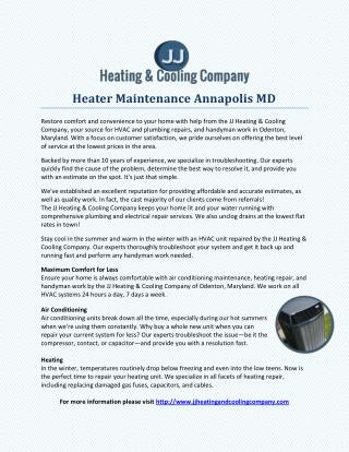 Heater Maintenance Annapolis MD