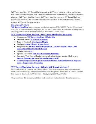 WP Tweet Machine review-(MEGA) $23,500 bonus of WP Tweet Machine