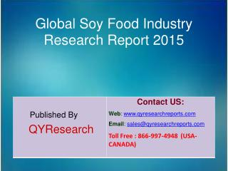 Global Soy Food Industry 2015 Market Development, Research, Forecasts, Growth, Insights, Outlook, Study and Overview