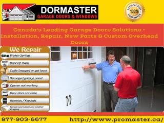 Garage Door Repair and Installation Services - Dormaster Garage Doors & Windows