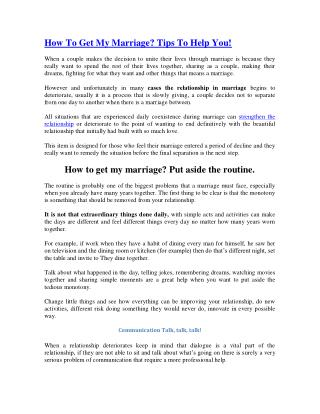 How To Get My Marriage? Tips To Help You!