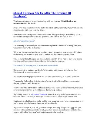 Should I Remove My Ex After The Breakup Of Facebook?