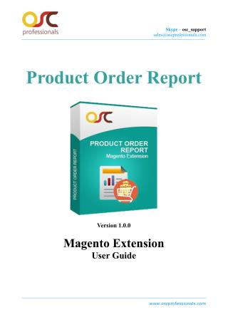 Product Order Report