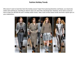 Fashion Holiday Trends