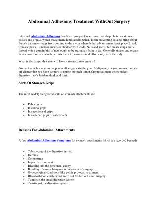 Abdominal Adhesions Symptoms Causes Treatment