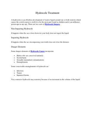 Hydrocele Treatment Symptoms Causes