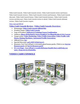 Video Cash Console review demo and $14800 bonuses