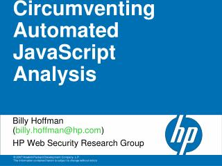 Circumventing Automated JavaScript Analysis