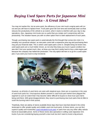 Buying Used Spare Parts for Japanese Mini Trucks - A Great Idea?