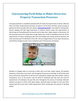 Conveyancing Perth Helps to Makes Stress less Property Transaction Processes