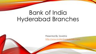 Bank of India IFSC code Hyderabad branch