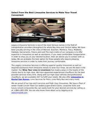 Limousine Rental San Ramon