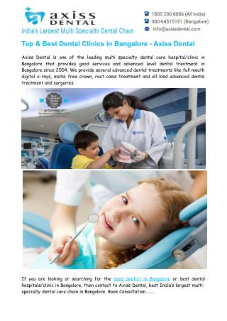 Top & Best Dental Clinics in Bangalore