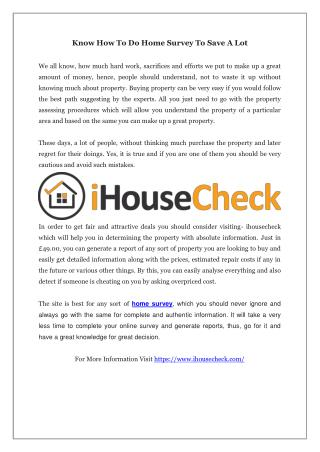 Know How To Do Home Survey To Save A Lot