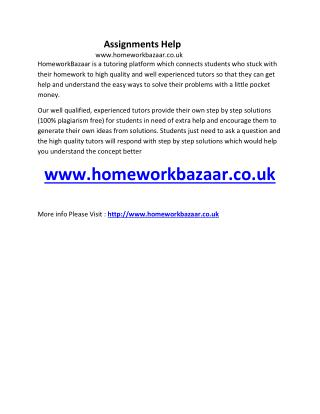 Homework Bazaar Assignments Help