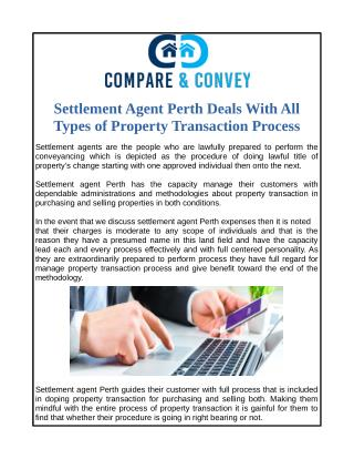 Settlement Agent Perth Deals With All Types of Property Transaction Process