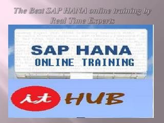 The Best SAP HANA online training in India, USA & UK.