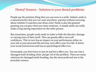 Dental Veneers - Solution to your dental problems