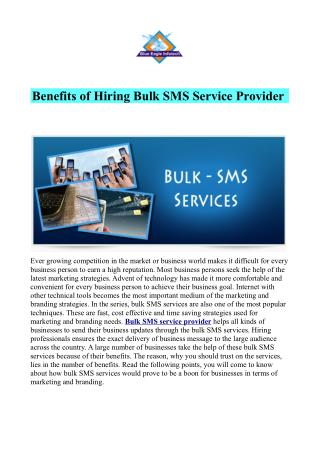 Benefits of Hiring Bulk SMS Service Provider