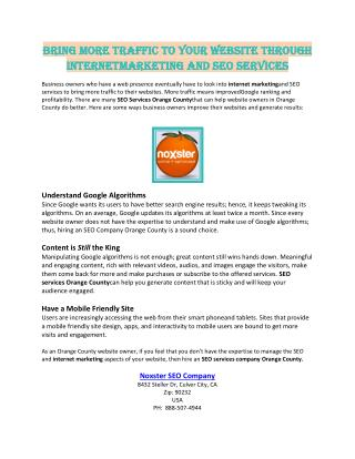 Bring More Traffic to Your Website through Internet Marketing and SEO Services