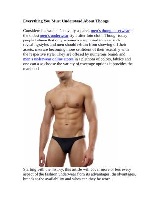Everything You Must Understand About Thongs