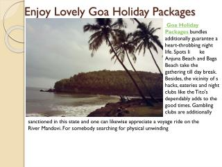 Enjoy lovely goa holiday packages