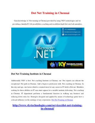 Dot Net Training in Chennai