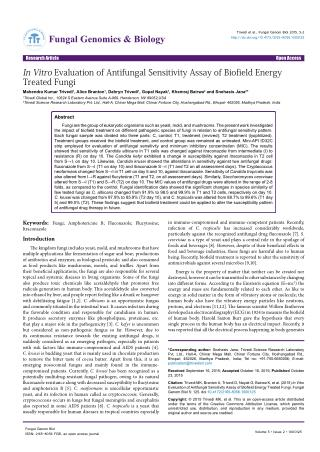 In Vitro Evaluation of Antifungal Sensitivity Assay of Biofield Energy Treated Fungi