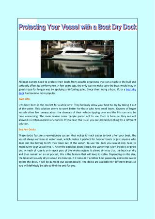 Protecting Your Vessel with a Boat Dry Dock