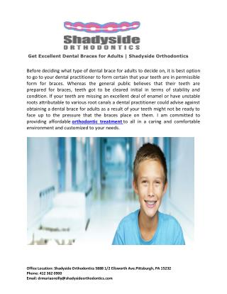 Get Excellent Dental Braces for Adults | Shadyside Orthodontics