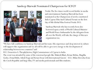 Sandeep Marwah Nominated Chairperson for ICFCF