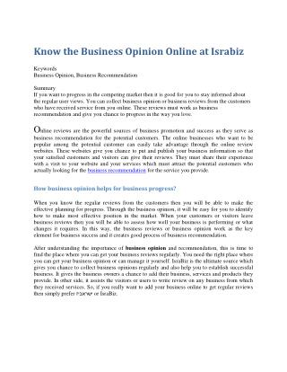 Know the Business Opinion Online at Israbiz