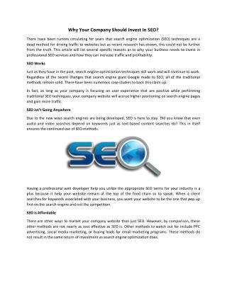 Why Your Company Should Invest in SEO?