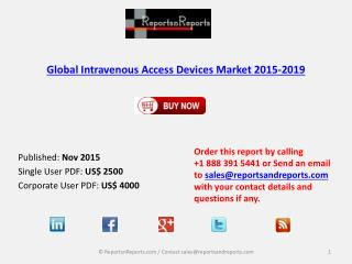 Global Research Intravenous Access Devices Market 2019 Forecast Report