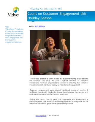 Count on Customer Engagement this Holiday Season - Vidyo