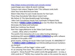 VIDEO CASH CONSOLE review and 2300$ bonuses